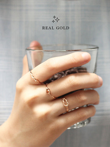 [REAL GOLD] Knotted Heart Ring 18k Rose Gold