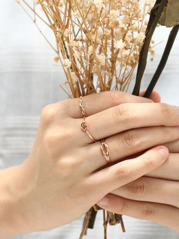 Knotted Thread Ring 14k Rose Gold Dip