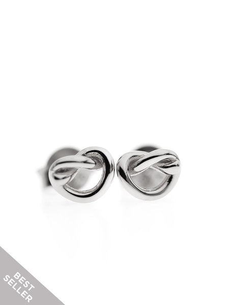 KNOTTED HEART Ear Studs 925 Sterling Silver