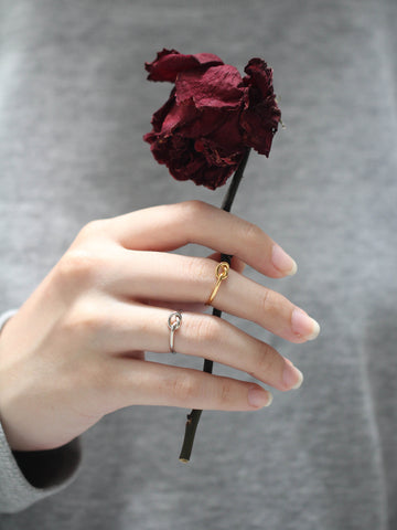 Knotted Heart Ring 925 Sterling Silver