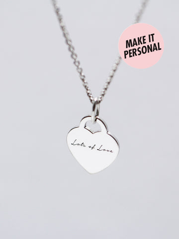 Engravable GRETA's Heart Plaque Necklace