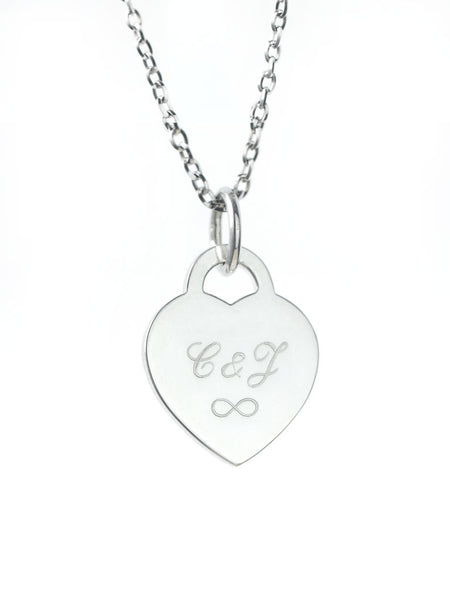Engravable GRETA's Heart Plaque Necklace 925 Sterling Silver & Gold Dip