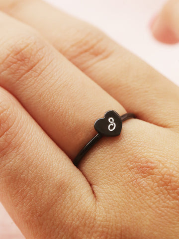 Engravable BELLA's Tiny Heart Ring Black Ruthenium