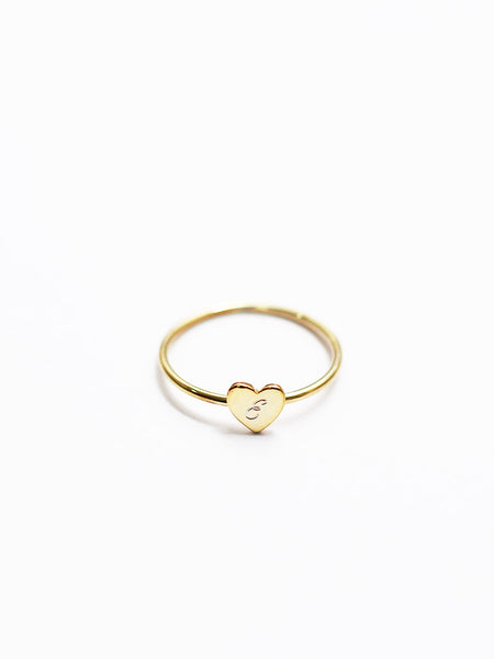 Engravable BELLA's Tiny Heart Ring 925 Sterling Silver & Gold Dip