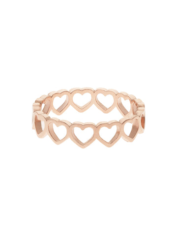 CUTOUT HEART Ring 14k Rose Gold Dip