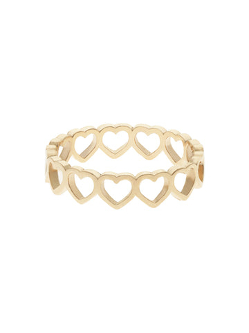 CUTOUT HEART Ring 16.8k Yellow Gold Dip