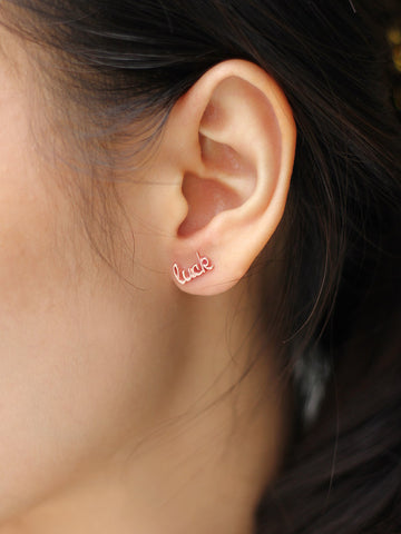 LUCK Ear Climber 14k Rose Gold Dip