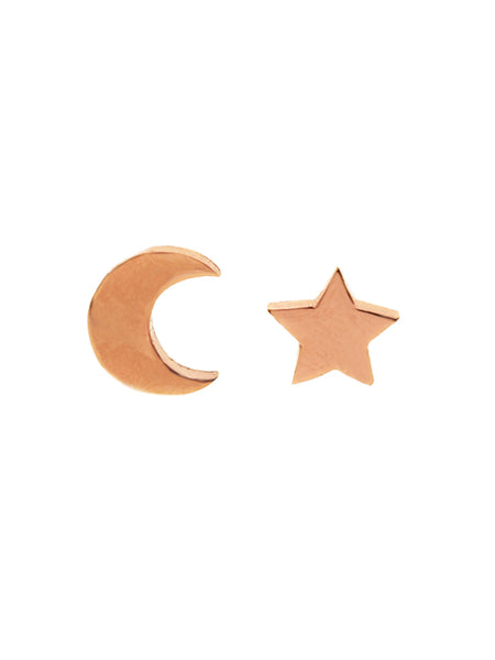 CRESCENT MOON & STAR Ear Studs 14k Rose Gold Dip