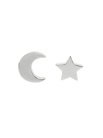 CRESCENT MOON & STAR Ear Studs 925 Sterling Silver