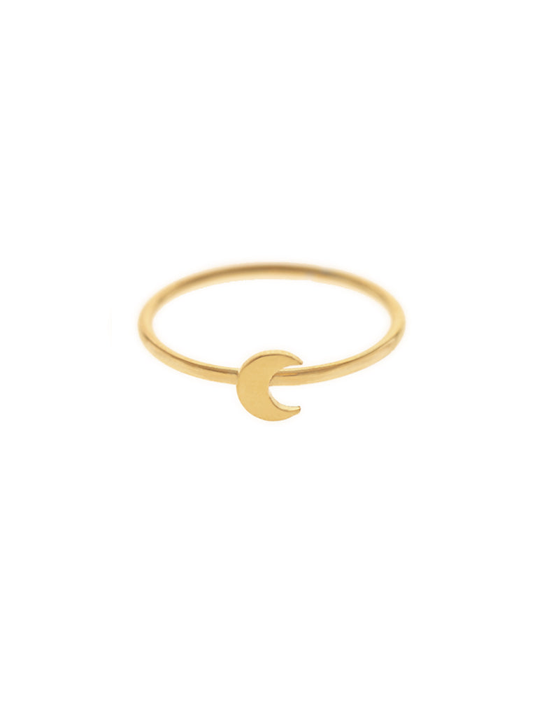 CRESCENT MOON Ring 16.8k Yellow Gold Dip