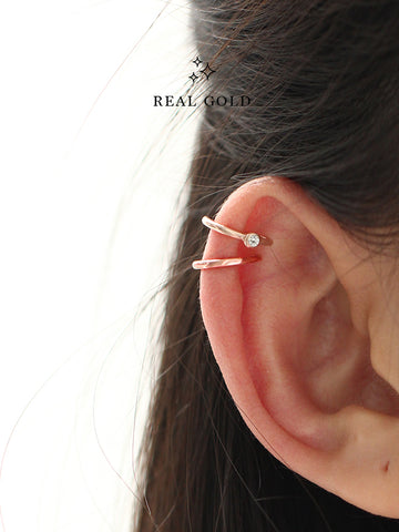 [REAL GOLD] ALANA Moonlight Ear Cuff 18k Rose Gold