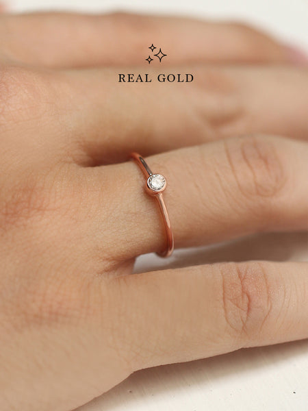 [REAL GOLD] MOONLIGHT SOLO Zirconia Ring 18k Rose Gold