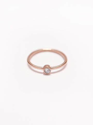 [PRE-ORDER] MOONLIGHT SOLO Zirconia Ring 14k Rose Gold Dipped