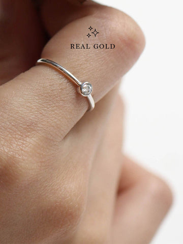 [REAL GOLD] MOONLIGHT SOLO Ring 18k White Gold