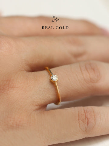 [REAL GOLD] MOONLIGHT SOLO Zirconia Ring 16.8k Yellow Gold