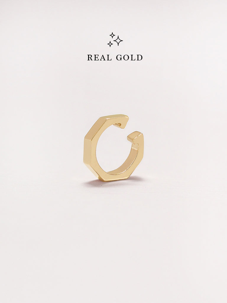 [REAL GOLD] NYLA Hexagon Ear Cuff 16.8k Yellow Gold