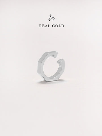 [REAL GOLD] NYLA Hexagon Ear Cuff 18k White Gold