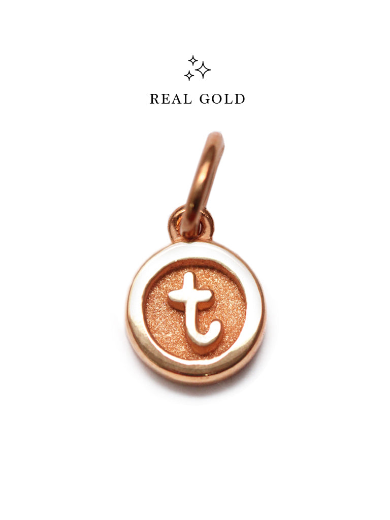 [REAL GOLD] Petite Typewriter ALPHABET Pendant 18k Rose Gold