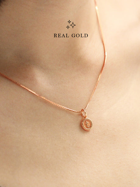 [REAL GOLD] Petite Typewriter ALPHABET Pendant 16.8k Rose Gold