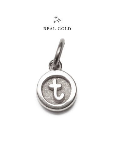 [REAL GOLD] Petite Typewriter ALPHABET Pendant 18k White Gold