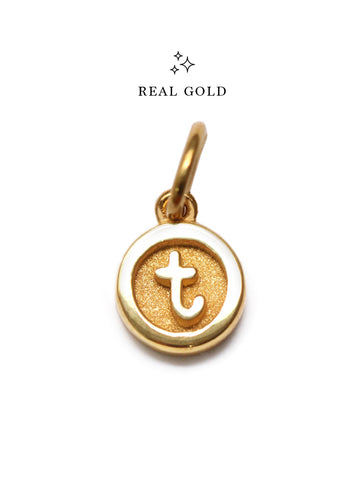 [REAL GOLD] Petite Typewriter ALPHABET Pendant 16.8k Yellow Gold