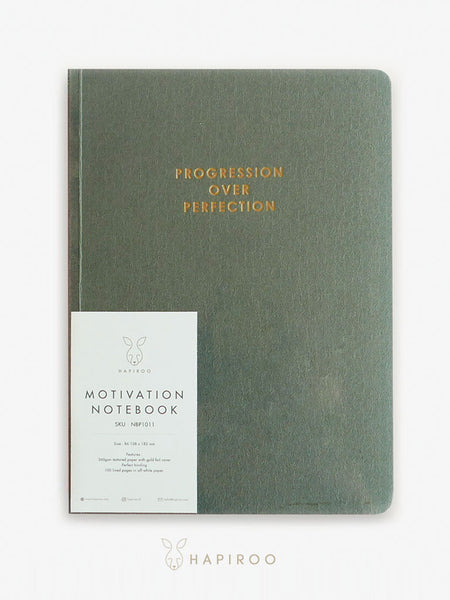 PROGRESSION OVER PERFECTION Motivation Notebook