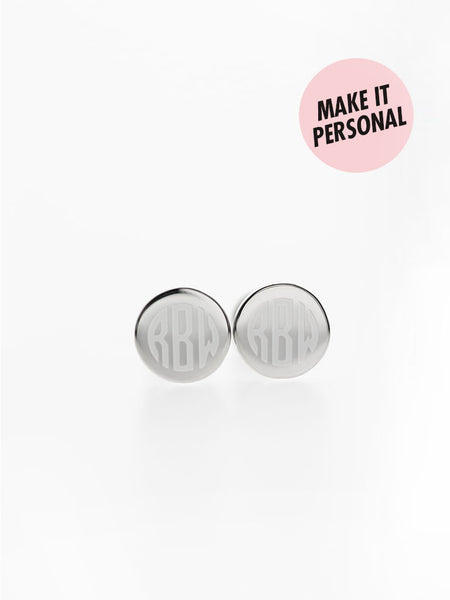 Engravable KARENINA's Round Ear Studs 925 Sterling Silver & Gold Dip
