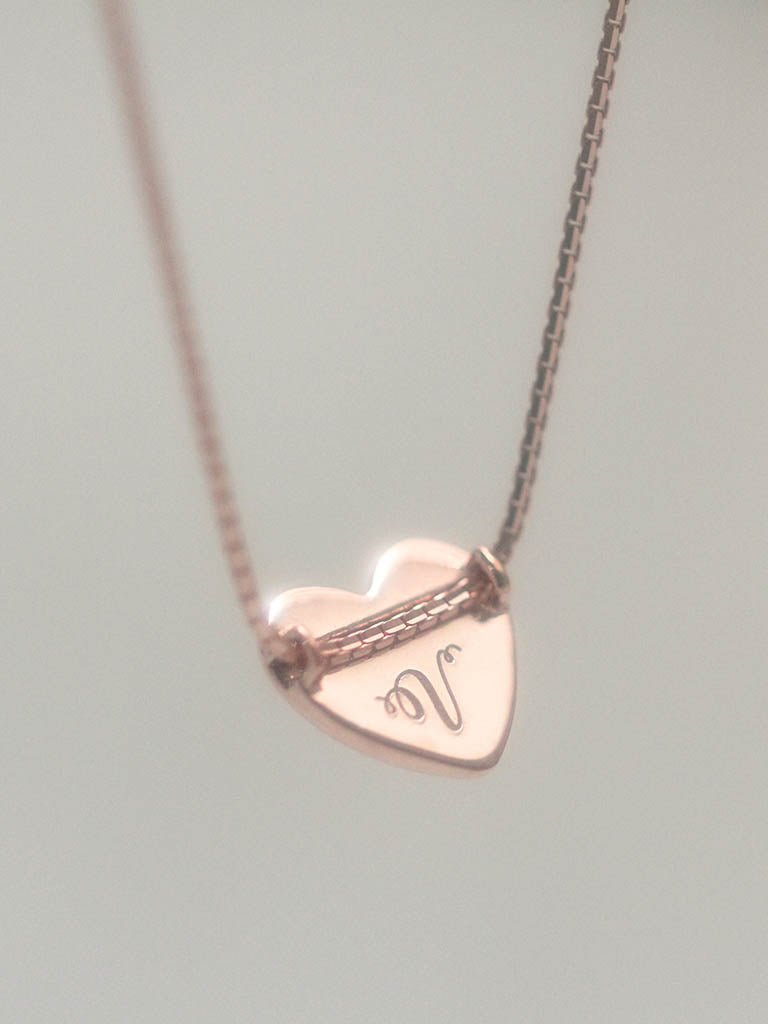 ae08b28a209ea TINY HEART Necklace 14k Rose Gold Dip  ENGRAVABLE  – LOULOUROSE