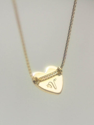 TINY HEART Necklace in 16.8k Yellow Gold Dip [ENGRAVABLE]