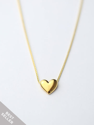 TINY HEART Necklace 16.8k Yellow Gold Dip [ENGRAVABLE]