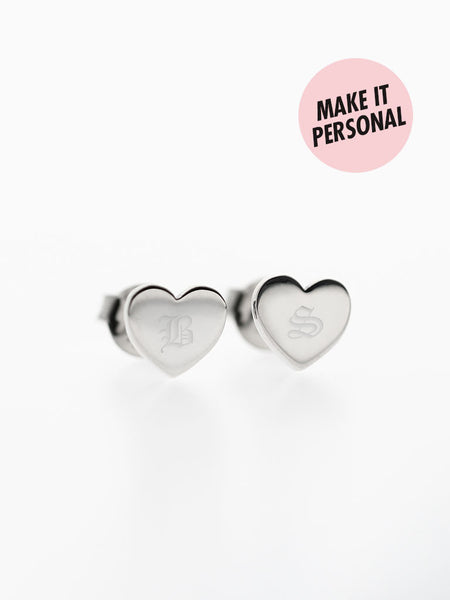 Engravable VIOLET's Heart Ear Studs 925 Sterling Silver & Gold Dip