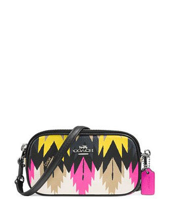 Coach Crossbody Pouch Printed Crossgrain Hawk Feather