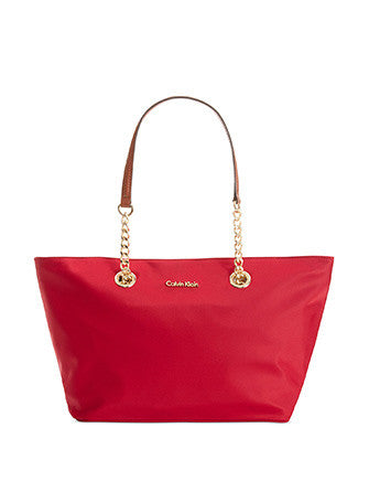 Calvin Klein Nylon Chain Zip Top Shoulder Tote