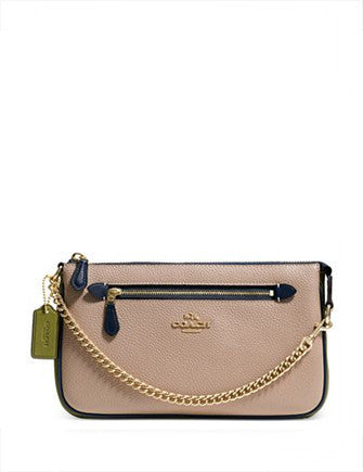 Coach Nolita Wristlet 24 in Colorblock Pebble Leather