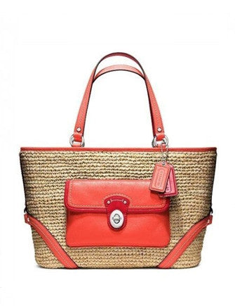 Coach Woven Straw Pocket Tote