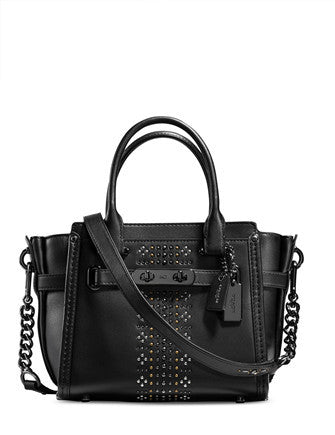 Coach Bandana Rivets Black Swagger 21 Leather Satchel