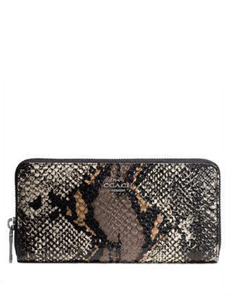 Coach Accordion Zip Wallet in Exotic Embossed Leather