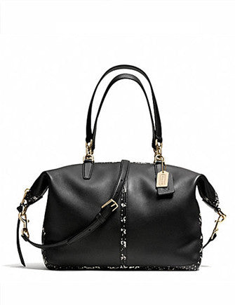 Coach Bleecker Copper Black and Python Embossed Satchel