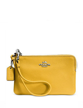 Coach Embossed Small L-Zip Wristlet in Leather