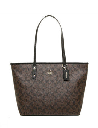 Coach City Zip Top Tote in Signature Coated Canvas