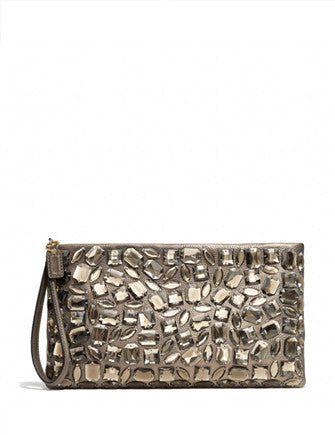Coach Madison Jeweled Zip Metallic Leather Clutch