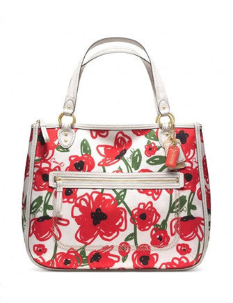 Coach Red Poppy Floral Print Hallie Tote