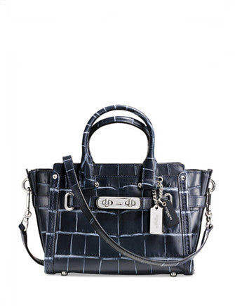 Coach Swagger 20 in Croc Embossed Denim Leather