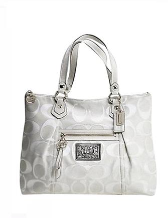 Coach Poppy Signature Sateen Lurex Glam Tote