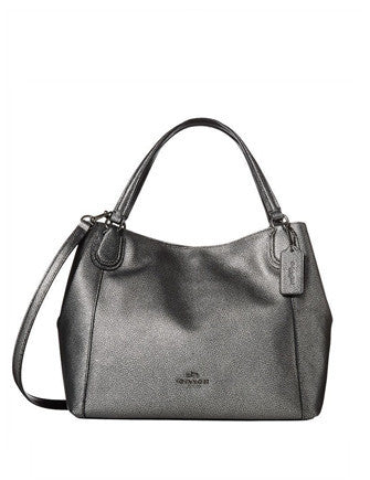 Coach Edie 28 Shoulder Bag in Metallic Pebble Leather