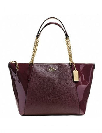 Coach Ava Chain Pebble and Patent Leather Zip Tote