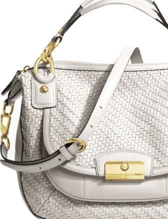 Coach Kristin Round Woven Leather Satchel