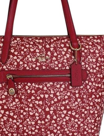 Coach Taylor Leaf Love Heart Print Zip Tote