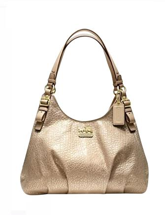 Coach Madison Embossed Metallic Leather Maggie Shoulder Bag