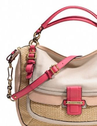 Coach Madison Pinnacle Woven Straw Eva Satchel